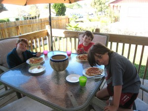 Saturday morning breakfast after a late night sleepover!
